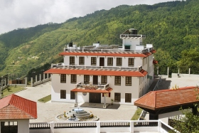 The four-story, 100-bed residential drug rehabilitation facility is located atop Hubbard's Peak, the summit dedicated in honor of humanitarian L. Ron Hubbard for his development of the drug rehabilitation technology used by Narconon.