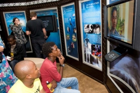 Those visiting the new Scientology Life Improvement Centre take self-guided tours of multimedia displays illustrating the beliefs and practices of Scientology, the life and legacy of Founder L. Ron Hubbard, and the Church's global humanitarian and social betterment programs.
