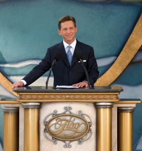 """The bottom line is the same bottom line for the last eighty-plus years: this Fort Harrison is and will always remain a landmark and home for all of Clearwater,"" said Mr. David Miscavige, ecclesiastical leader of the Scientology religion, before cutting the ribbon for the restored landmark."