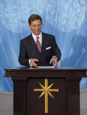 Mr. David Miscavige, ecclesiastical leader of the Scientology religion, dedicated Spain's National Church of Scientology, welcoming the thousands in attendance to their new Church.