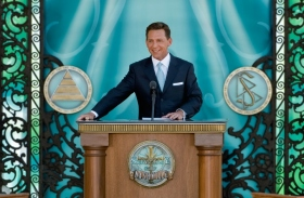 "Mr. David Miscavige, the ecclesiastical leader of the Scientology religion, presided at the dedication of the Church of Scientology and Celebrity Centre of Nashville, where he said Nashville will fulfill her destiny and ""write a song that will uplift every Man."""